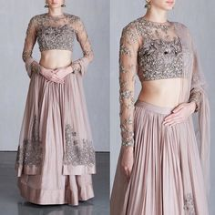 21 Simple & Elegant Lehenga Options for the Sister of the Bride/Groom Indian Gowns Dresses, Indian Fashion Dresses, Dress Indian Style, Indian Designer Outfits, Designer Dresses, Indian Designers, Red Fashion, Ethnic Fashion, Modest Fashion