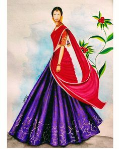 Dress Design Drawing, Fashion Illustration Sketches, Mermaid Dresses, Awesome Art, Indian Dresses, White Roses, Designs To Draw, Watercolor Flowers, Indian Fashion