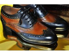 TucciPolo Womens Handmade Wingtip Oxford Style Two Tone Brown and Black Luxury Shoe