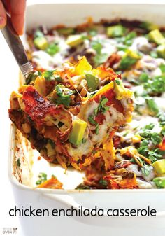 Spice up family fun night with this super cheesy chicken enchilada casserole.