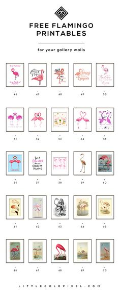 Free Flamingo Printables • 70 printable roundup! • Curated by Little Gold Pixel