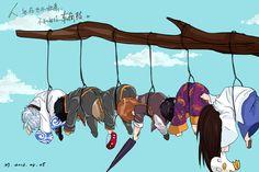 Idk why. But I imagined Kagura do this. Because she has a reason to do this towards each of them. Kamui Gintama, Katsura Kotaro, Gintama Funny, Silver Samurai, Otaku, Okikagu, Cute Chibi, Asuna, Anime Characters