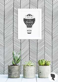 Herringbone Pattern Removable Wallpaper, Wall mural, Self Adhesive, Just Peel and stick/ Black and white print M204