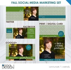 Fall photography social media marketing kit: Facebook, Twitter, Google+ and Digital or Print Postcard by RockaDesign on Etsy