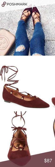 "'Owen' Pointy Toe Ghillie Flat Brand New in box 'Owen' Pointy Toe Ghillie Flat by Halogen in color ""Bordeaux suede"". Beautiful maroon:) Halogen Shoes Flats & Loafers"