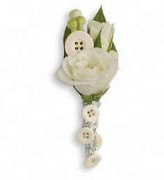 Prom Boutonniere with white spray rose and buttons on silver wire