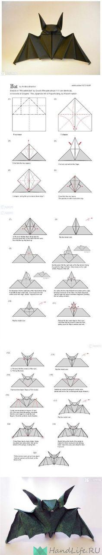 DIY: Origami Bat Instructions for halloween Instruções Origami, Origami And Kirigami, Oragami, Origami Ideas, Diy Paper, Paper Crafts, Diy Crafts, Paper Bat, Halloween Crafts