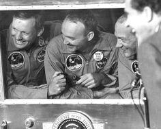 The crew of Apollo 11 in post-flight quarantine.