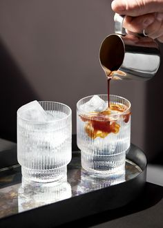 Ferm Living's Ripple Glassware combines contemporary design with old-time nostalgia. The glassware of Ferm Living's Ripple collection has been made by mouth-blowing glass into a mould – the result is… Best Espresso, Espresso Coffee, V60 Coffee, Nitro Coffee, Coffee Mugs, Coffee Lovers, Iced Coffee, Coffee Zone, Coffee Glasses