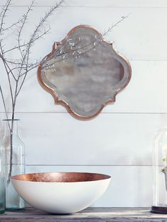Kasbah Mirror Made from lightweight metal with a warm metallic finish, this bevelled Moroccan style mirror has smooth curves that look great in a living or bedroom space. Why not team three together and create a statement wall? Morrocan Bathroom, Moroccan Bedroom, Moroccan Interiors, Moroccan Decor, Moroccan Style, Moroccan Lanterns, Cuba, Downstairs Toilet, Elegant Homes