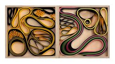 bent paper in wooden trays, multi-colors