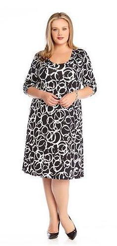 Plus Size Dresses Black and White Plus Size Artistic Ring T-shirt Dress…