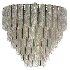 Murano Chandelier With Hanging Spirals Of Pink & Clear Glass