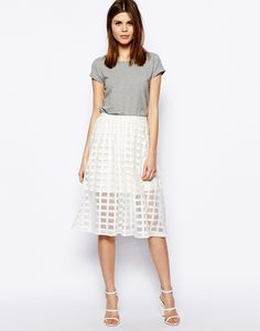 Spring summer fashion screams for something white - this white, sheer checked midi skirt via @ASOS.com is so chic for spring! #fashion #style