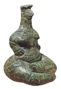 Neolithic Cretan clay figurine. Similar cross-legged figurines have been found at Kato Hierapetra, in Eastern Crete c.4500-3500BC