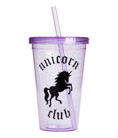 Purple/unicorn. Mug in clear plastic with a printed design. Screw top with straw. Diameter at top 4 in., height 6 in.