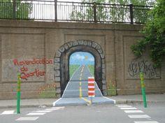 Tunnel Graffiti Optical Illusion in Montreal - http://www.moillusions.com/tunnel-graffiti-optical-illusion-montreal/