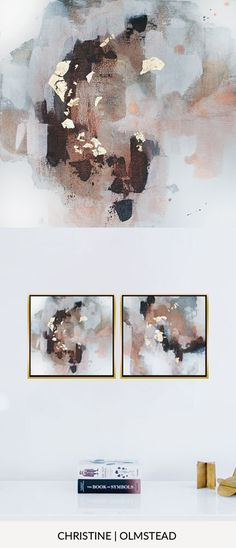 """'Uncertain Future 1', 12""""x12"""" is acrylic and gold leaf on canvas. This painting is perfect to add to a gallery wall or as a diptych. Blacks, grey, white, gold, and peachy copper tones mingle together to create peace. by Christine Olmstead #abstractart #interiordesignideas #homedecor #gallerywall"""