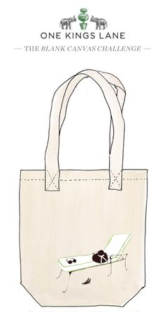 Love this tote bag design by Lindsey Wood? Cast your vote by pinning it! For more information on our Blank Canvas Challenge visit www.onekingslane.com/designchallenge