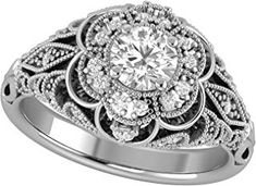 14K White Gold Diamond Engagement/Fashion Ring with Natural Diamonds on the ring and Simulated Diamond Center Solitaire - $849.99 -  - Luxurious Jewelry 2019 - Gold & Diamond Luxury Jewelry, Natural Diamonds, Fashion Rings, White Gold, Engagement Rings, Stuff To Buy, Enagement Rings, Wedding Rings, Fashion Ring