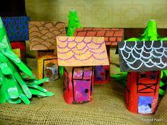 little house sculptures a la painted paper