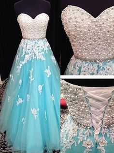 Long Prom Dresses, Stylish A-Line Sweetheart Floor Length Blue Beading Prom/Evening Dress With Appliques