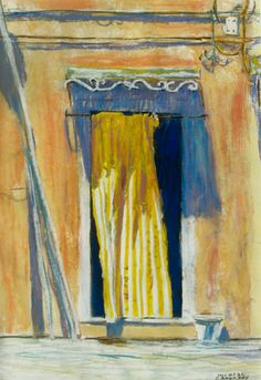 """sunscreen doorway burano  venice 20"""" x 13"""" micheal zarowsky / watercolour on arches paper / available $550.00"""