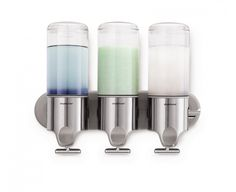 The simplehuman triple wall mount soap pump eliminates bottle clutter from your shower and keeps shampoo and soap within easy reach. Shower Soap Dispenser, Shampoo Dispenser, Soap Dispensers, Howard Storage, Douche Design, Shower Accessories, Soap Pump, Silver Pumps, Brushed Stainless Steel