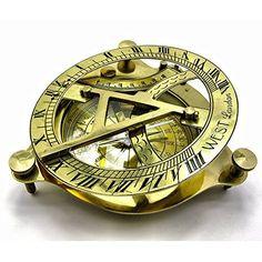 Maritime Collectible Sundial Compass Vintage Navigational Compass Shiny Brass