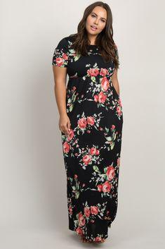 347c1eb22 Black Floral Plus Maternity/Nursing Wrap Dress Maternity Nursing, Plus  Dresses, Sash,