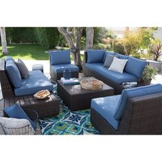 ae outdoor canyon 7 piece all weather wicker patio sectional with rh pinterest com