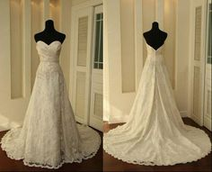 A LINE Lace Vintage Wedding Dress Bridal Gown Bridesmaid Dress Evening Prom Dress. $228.00, via Etsy.
