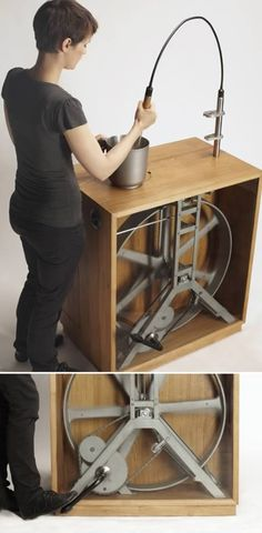 Pedal powered blender/coffee grinder/mixer from the Berlin-based designer Christoph Thetard.