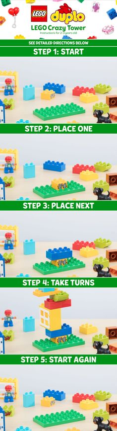 Try this game with your 2-3 year old!  WHAT YOU'LL NEED: Set-up time: 0-10 minutes | Players: 4-6 | Supplies: LEGO® DUPLO bricks.  Here's how to play. STEP 1: Start with a LEGO Duplo baseplate. STEP 2: Player 1 places the firest brick using 1 hand. STEP 3: Player 2 places the next brick using 2+ studs. STEP 4: Each player takes a turn until the tower falls. STEP 5: Start again and play until only one player remains. Have fun!