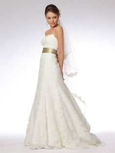 Smart Strapless Embroidered Lace Gown of Satin Sash and Veil