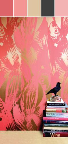 Betta Wallpaper in Persimmon design by Jill Malek Designed By Burke Decor via Stylyze