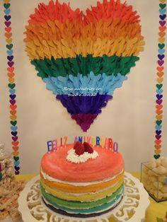 Naked cake, rainbown, cakes, bolo aniversário arco íris, bolo colorido festa, bolo decorado