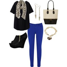 """Cobalt Skinnies"" by distantlover on Polyvore"