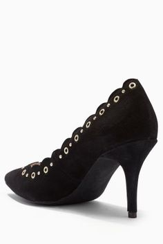 Black Suede Studded Court Shoes from Next