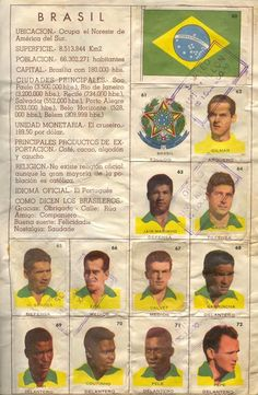 Brazil team stickers for the 1962 World Cup Finals. Brazil Football Team, Brazil Team, Fifa Football, Sport Football, Football Players, Soccer Cards, Football Cards, Baseball Cards, Football Stickers