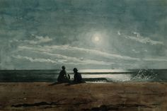 Winslow Homer (American, 1836-1910) - Moonlight (1874) - Watercolor over graphite on handmade wove paper