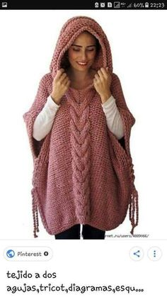 Stylish poncho with a hood - universal and comfortable knitted clothes // Ð . Stylish poncho with a hood - universal and comfortable knitted clothes // Виктория STEP-BY-STEP INSTRUCTIONS and PHOTOS . Gilet Crochet, Crochet Poncho Patterns, Knitted Poncho, Knit Crochet, Knit Fashion, Sweater Fashion, Poncho Pullover, Knit Jacket, Handmade Clothes