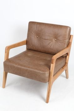 Lounge chair in Walnut leather