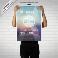 Spring party poster mockup