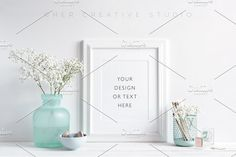 White Frame, Turquoise Desk Accents by Her Creative Studio on @creativemarket