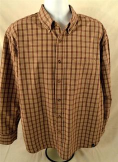 IZOD Jeans Mens Size XL Long Sleeve 100% Cotton Plaid Shirt #IZOD #ButtonFront
