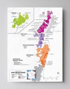 Wine Map of Burgundy, France with Cities Burgundy Wine Map, Burgundy France, Wein Poster, Cote De Beaune, Oregon Pinot Noir, Wine Folly, Pinot Noir Wine, Wine Magazine, Red Wine Glasses