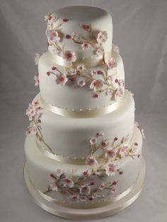 Cherry blossom wedding inspiration with ideas on decor, wedding cakes, hand painted shoes, Claire Pettingbone dresses and wedding stationery. Beautiful Wedding Cakes, Beautiful Cakes, Amazing Cakes, Cherry Blossom Cake, Cherry Blossom Wedding, Cherry Blossoms, Cherry Cake, Pretty Cakes, Cute Cakes