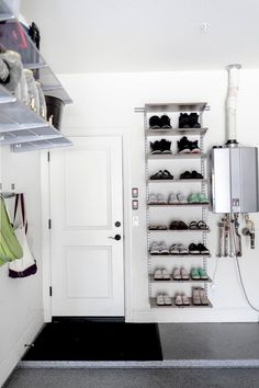 How to organize your garage. How to organize shoes in garage. How to organize your garage. How to organize shoes in garage. Garage Shoe Storage, Garage Organization Tips, Garage Storage Solutions, Shoe Storage Ideas For Garage, Shoe Storage For Garage, Organizing, Garage Shelving, Garage House, Mud Room In Garage