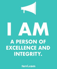 I AM A PERSON OF EXCELLENCE AND INTEGRITY! Your words are powerful and the words you speak about yourself are even more powerful. Discover what to say from God's Word about your freedom, faith, finances, family, fitness, and your future dreams and goals. Program your mind for success through positive declarations and affirmations to become happier, healthier, and more productive today! Click on the Pin to order my book Pep Talk & find out more about affirmations.